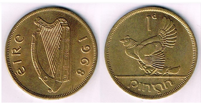 1968 Irish penny flan error E16i - struck in nickel-brass instead of bronze, with a copy of a letter, dated 3rd April 1975, from Royal Mint confirming it was an error. Very rare, uncirculated.