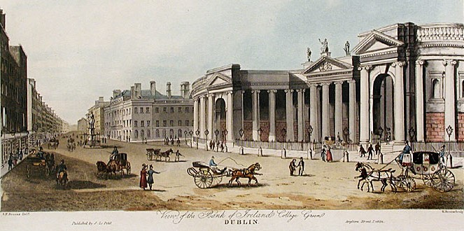 View of the Bank of Ireland College Green, Dublin: Published by J. Le Petit, Anglesea Street, c.1840.