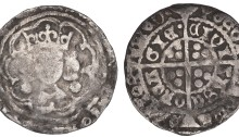 Edward IV, Heavy Cross and Pellets coinage, Groat, Cork, mm. not clear, large rosettes by neck, rev. civi tasc orca gie·, 2.24g (S 6316, DF 118ff). About F, extremely rare