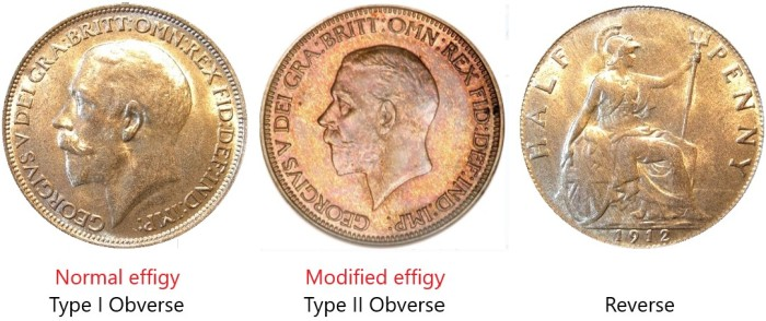 GB & Ireland George V bronze halfpenny – Type I & II obverse. The Old Currency Exchange, Dublin.