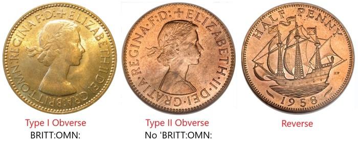 GB & Northern Ireland Elizabeth II bronze halfpenny - Type I & II obverse