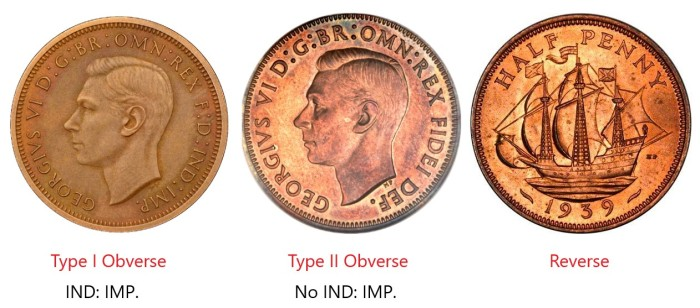 GB & Northern Ireland George VI bronze halfpenny - Type I & II obverse. The Old Currency Exchange, Dublin