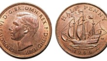 1944 GB & Northern Ireland George VI bronze halfpenny