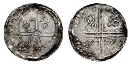 Hiberno-Norse. Circa 1065-1085/95. AR Penny (18mm, 0.54 g). Phase V coinage, Facing Bust type. Uncertain mint signature and moneyer. Stylized facing bust wearing pyramidal helmet / Voided long cross; 'hand' symbol in one quarter, S symbol in others. O'S 46; SCBI –; D&F 29; SCBC 6176. VF, toned. Well struck. Rare.