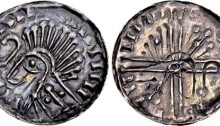 Hiberno-Norse, Phase VI silver penny - Crude draped bust left; crozier before, Domnall mac Taidc Ua Briain – Brotar mac Torcaill