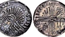 Hiberno-Norse, Phase VI silver penny - Crude draped bust left; crozier before, Domnall mac Taidc Ua Briain – Brotar mac Torcaill