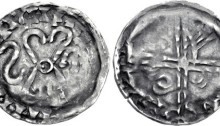 IRELAND, Hiberno-Norse. temp. Murchad mac Diarmata – Gofraid mac meic Arailt. Mid-late 11th century. AR Penny (18mm, 0.78 g). Phase V coinage. Uncertain mint signature and moneyer. Struck circa 1065-1085/95. Four croziers forming cross in saltire, with annulet at center; retrograde S to left, scourge to right; blundered and illegible legend around / Voided long cross, with triple crescent ends and pellet at center; pellet, annulet, pellet, and 'hand' in angles; blundered and illegible legend around. SCBI 22 (Copenhagen), 269 (same dies); SCBI 32 (Belfast), 350-1 (same dies); SCBC 6182. VF, toned. Struck on a broad flan. Very rare.