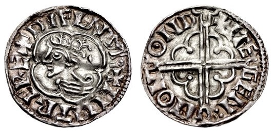 Hiberno-Norse. Phase I, Class E Penny (19mm, 1.09 g). Imitating Cnut Quatrefoil type. Dublin mint, Stegen moneyer. Struck circa 1016-1020