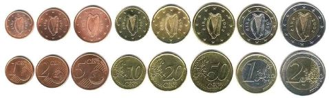 Irish Euro Coins - 2002 Set (1c to €2). The OLd Currency Exchange, Dublin, Ireland.