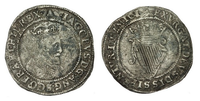 James I Silver Irish Shilling, First coinage, First bust, Mintmark Bell, 4.27g 28.4mm, S.6512. The Old Currency Exchange, Dublin, Ireland.