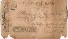 "Circa 1790, for six shillings, unissued, signed Chal. Riall and engraved For William Riall, Charles Riall and Arthur Riall"", bearing date ""17__ ."" The Old Currency Exchange, Dublin, Ireland."