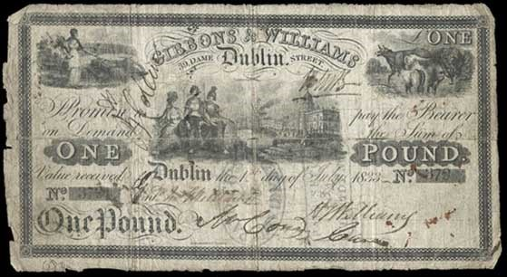 1833 £1 Gibbons & Williams, Dublin, S/N 378, dated 1st July 1833 and signed by H.T. Hutchins. The Old Currency Exchange, Dublin, Ireland.