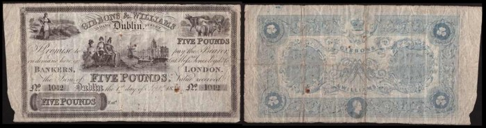 1833 £5 Gibbons & Williams, Dublin, S/N 1042, payable in Dublin & London (obverse + reverse design). The Old Currency Exchange, Dublin, Ireland.
