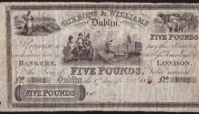 1833 £5 Gibbons & Williams, Dublin, S/N 1042, dated 1st September 1833. The Old Currency Exchange, Dublin, Ireland.
