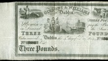1834 Dublin, Gibbons & Williams Bank, Three Pounds, 4 December 1834, no. 5484, unissued, with counterfoil (PB 159). The Old Currency Exchange, Dublin, Ireland.