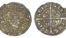 Edward I (1272-1307), Fifth Irish coinage, Silver Halfpenny, Cork Mint. Obv legend EDWR ANGLD NSHYB. Rev legend CIVI TAS CORC ACIE. The Old Currency Exchange, Dublin, Ireland.