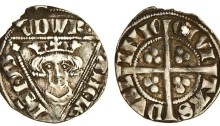 Edward I, Fifth Irish Coinage, Penny, Intermediate Issue, Dublin Mint, type III, pellet in each corner of triangle. The Old Currency Exchange, Dublin, Ireland.