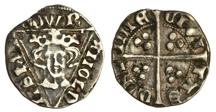 Edward I, fourth Irish coinage, Penny, Intermediate Issue, Dublin, type II, 1.40g, EDWR ANGLD NSHYB, rosette on breast, rev. CIVI TAS DVBL INIE, small letters, irregular,possibly clipped, good fine (S.6257) very rare. The Old Currency Exchange, Dublin, Ireland.