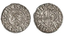 Hiberno-Norse Phase 1, Class E, silver penny imitating Cnut's Quatrefoil, bust left, sihtric, rev feineimodyf, 1.03g. The Old Currency Exchange, Dublin, Ireland.