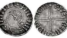 Hiberno-Norse Phase II silver penny, Dublin mint +Faeremin moneyer. cross pattee behind neck + two pellets in front. The Old Currency Exchange, Dublin, Ireland.