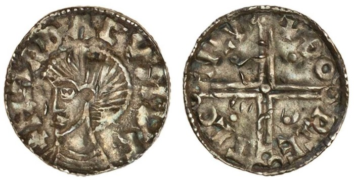 Harthacnut, Penny, 1.06g, Scandinavian imitation in the style of a Hiberno-Norse long cross, Lund mint, +hardÐa cvnvc, bare bust left to base of coin, rev. +Ðorcetl on lv, long cross, each limb ending in three semicircles, a pellet in centre (cf. S.6103), crude, peck marks to the reverse, very fine, extremely rare