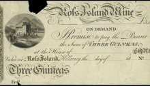 18__ Killarney, Ross Island Mine, Three Guineas, 18–, uniface proof on paper. The Old Currency Exchange, Dublin, Ireland.