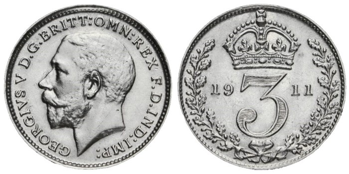 1911 GB & Ireland silver threepence (George V). The Old Currency Exchange, Dublin, Ireland.