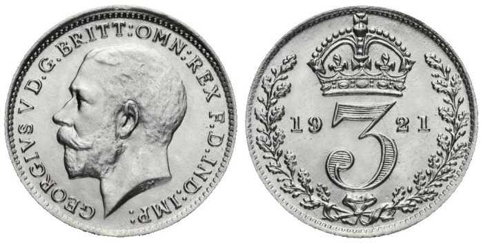 1921 GB & Ireland Silver Threepence (George V, Type 2a Obverse). The Old Currency Exchange, Dublin, Ireland.