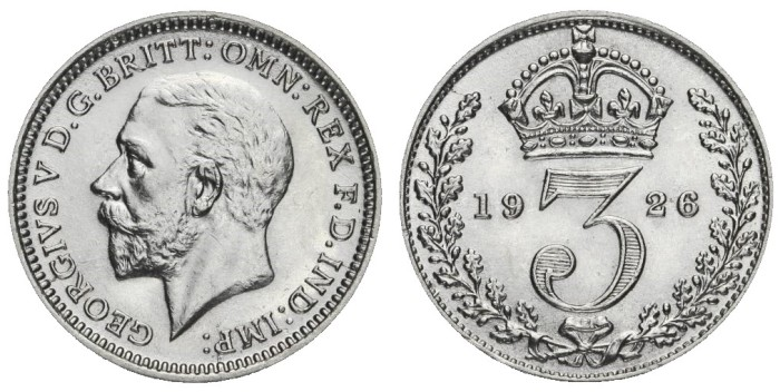 1926 GB & Ireland Silver Threepence (George V, modified effigy). The Old Currency Exchange, Dublin, Ireland.