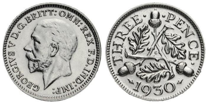 1930 GB & Ireland Silver Threepence (George V). The Old Currency Exchange, Dublin, Ireland.