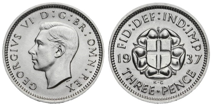 1937 GB & Ireland silver threepence (George VI). The Old Currency Exchange, Dublin, Ireland.