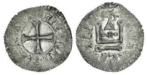 Anglo-Gallic, Edward III (1327-62, 1372-7), Gros Tournois au léopard au dessus, cross potent between annulets within castle, hammerhead on l of anglie, 2.23g