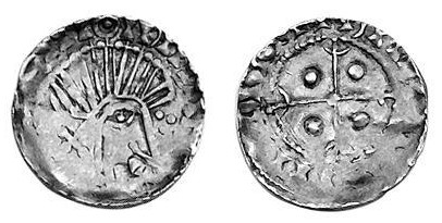 Hiberno-Norse c 1065-1095 Penny Phase V coinage, Crude bust right, derivative of Edward the Confessor small flan type. The Old Currency Exchange, Dublin, Ireland.