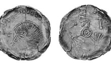 Hiberno-Norse Silver Penny, Phase V mule, crude bust left, trefoil of pellets to left (S.6139) + three birds around central pellet (S.6169). The Old Currency Exchange, Dublin, Ireland.