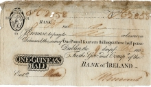 1802 Bank of Ireland, One Guinea and Half, 9 October 1802, uniface black on white, Hibernia seated at upper left. The Old Currency Exchange, Dublin, Ireland.