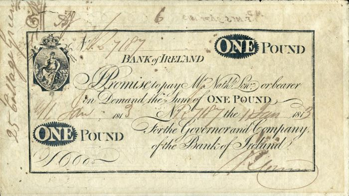 Bank of Ireland One Pound note issued on 11 January 1813 and numbered 7187. The Old Currency Exchange, Dublin, Ireland.