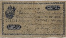 1820 Bank of Ireland (Sixth Issue 1815-1825) Thirty Shillings Note. The Old Currency Exchange, Dublin, Ireland.