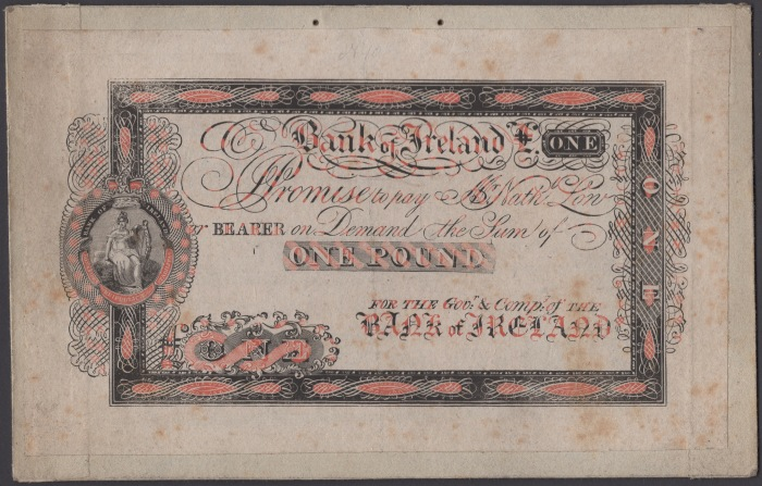 1820 Bank of Ireland, trial for £1, c.1820, printed using process patented in 1820 by Sir William Congreve, backed on card, very fine and rare. The Old Currency Exchange, Dublin, Ireland.