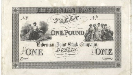 1826 Hibernian Bank One Pound Token, proof, undated. The OLd Currency Exchange, Dublin, Ireland.