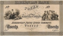 1826 Hibernian Bank Twenty Pounds Token, proof, undated. The Old Currency Exchange, Dublin, Ireland.