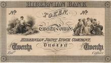 1826 Hibernian Bank Twenty Pounds Token, proof, undated. The Old Currency Exchange, Dublin, Ireland.