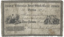 1829 Hibernian Bank Three Pounds, Post Bill. The Old Currency Exchange, Dublin, Ireland.