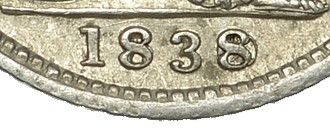 1838 GB & Ireland Silver Groat - 8 over sideways 8. The Old Currency Exchange, Dublin, Ireland.