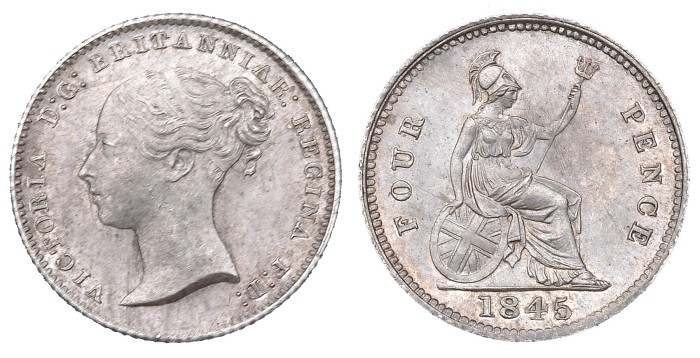 1845 GB & Ireland Silver Groat. The Old Currency Exchange, Dublin, Ireland.