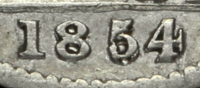 1854 GB & Ireland Silver Groat (Victoria) - 5 over 3 variety. The Old Currency Exchange, Dublin, Ireland.