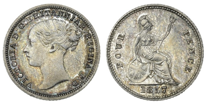 1854 GB & Ireland Silver Groat Mule - 3d obverse + 4d reverse. It sold for £3,400 in December 2017 at DNW Auctions in London. The Old Currency Exchange, Dublin, Ireland.