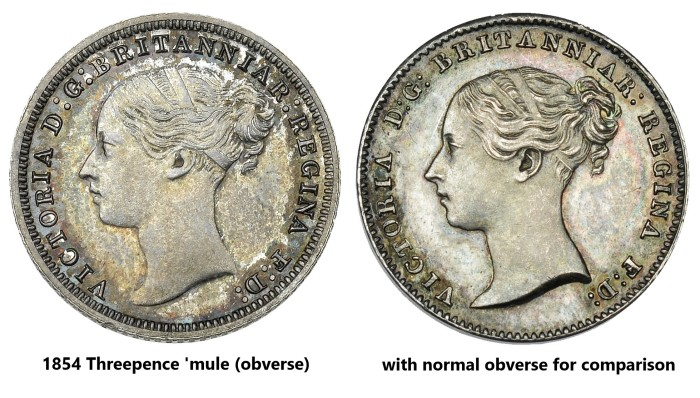 1854 GB & Ireland Silver Groat Mule - 3d obverse + 4d obverse comparison. The Old Currency Exchange, Dublin, Ireland.