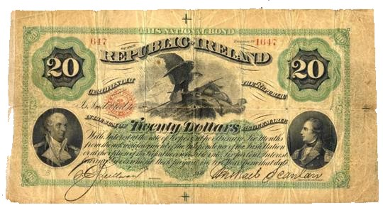 The National Bond for the Republic of Ireland' $100, vignettes of Commodore John Barry and Richard Montgomery, signed by O'Sullivan & Scanlan. The Old Currency Exchange, Dublin, Ireland.