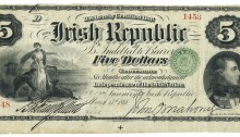 1866 Republican Bond, Five Dollars, 17 March 1866, 1453-1548, Killian-O'Mahony signatures. The Old Currency Exchange, Dublin, Ireland.