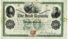 1866 The Irish Republic, Bond Certificate, Twenty Dollars, January 1866, no 842-159, issued, signature of J. O'Mahony. The Old Currency Exchange, Dublin, Ireland.